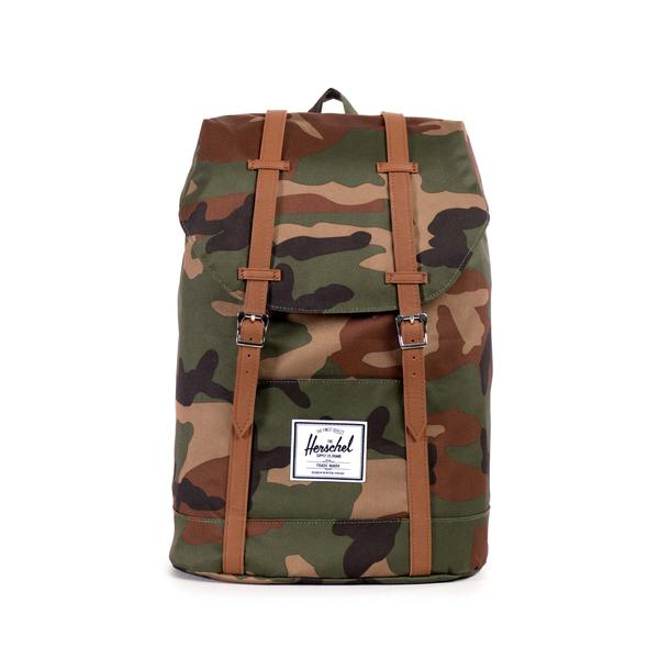 HERSCHEL рюкзак RETREAT WOODLAND CAMO TAN SYNTHETIC LEATHER